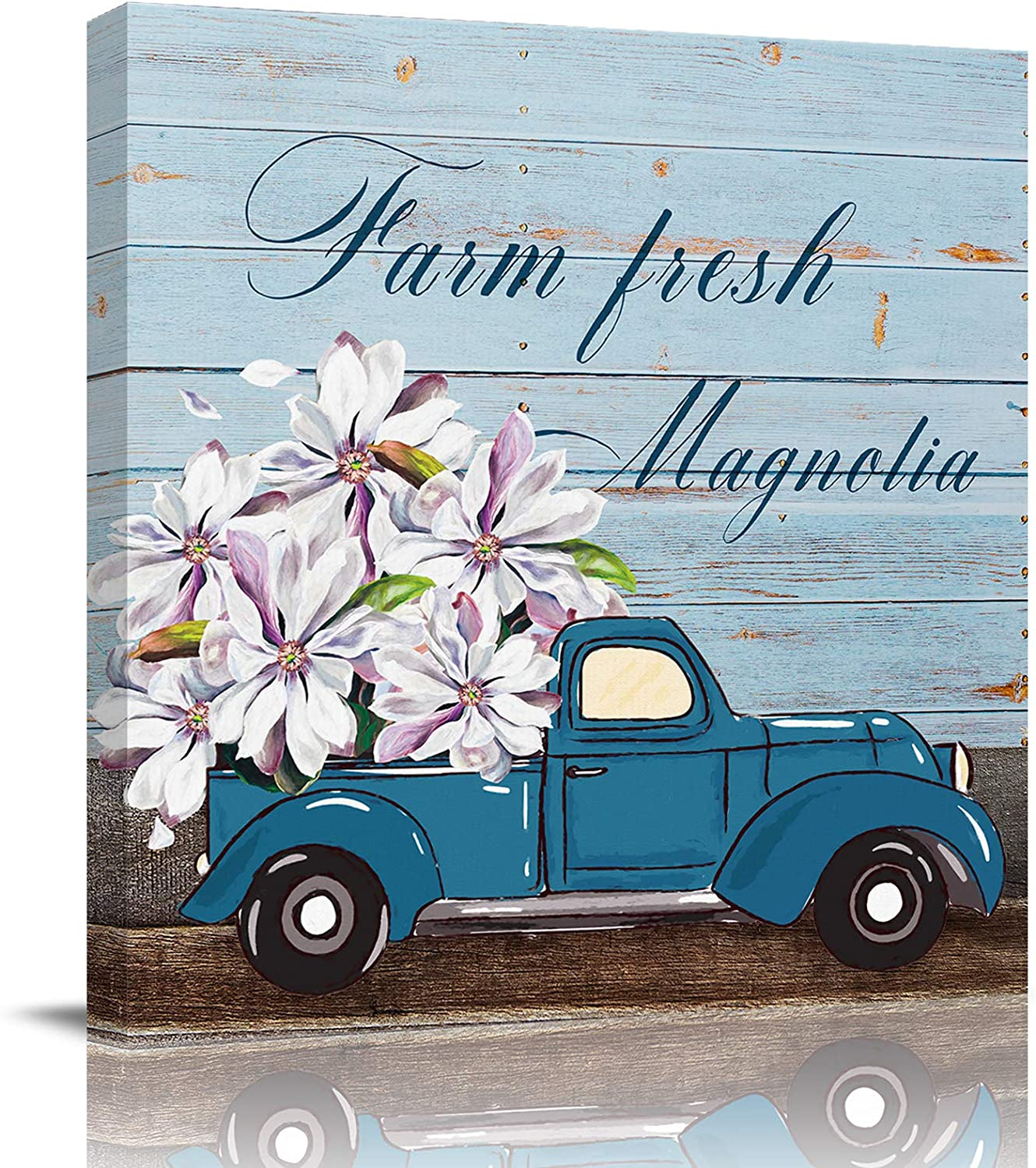 Bathroom Decor Canvas Wall Art, Blue Truck Carrying Pink Magnolia Flower Quotes Live Laugh Love Canvas Prints Gallery Artworks for Bedroom, Stretched and Framed Ready to Hang, 20x20 Inch Wall Decor