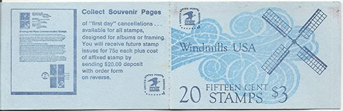 Amazon Com Us Postage Stamp Booklet Windmills Usa 20