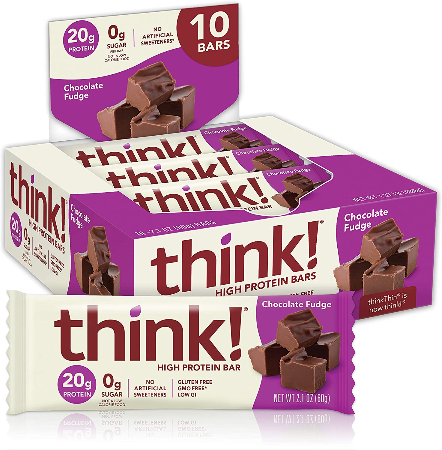 think! (thinkThin) High Protein Bars - Chocolate Fudge, 20g Protein, 0g Sugar, No Artificial Sweeteners, Gluten Free, GMO Free, 2.1 oz bar (10 Count - packaging may vary)
