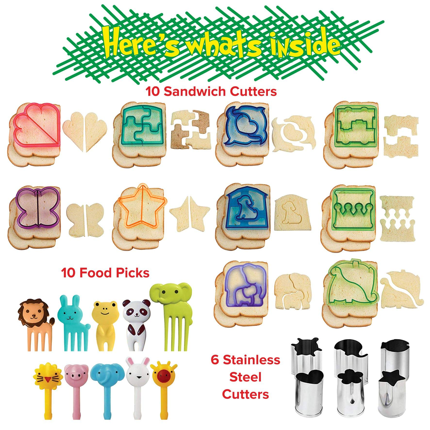 Sandwich Cutters for Kids | Funbite Food Cutter for Kids | Exciting and Innovative | Kids Friendly | 26 pieces set | Variant Sandwich Cutters | Vegetable and Cheese Stamps | Animal Shaped Food Picks | by Gordon's Sandwich Cutter (Image #2)