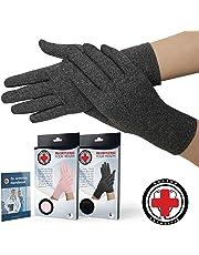 Doctor Developed Full Length Cotton Arthritis Gloves & Handbook (Grey, Medium)
