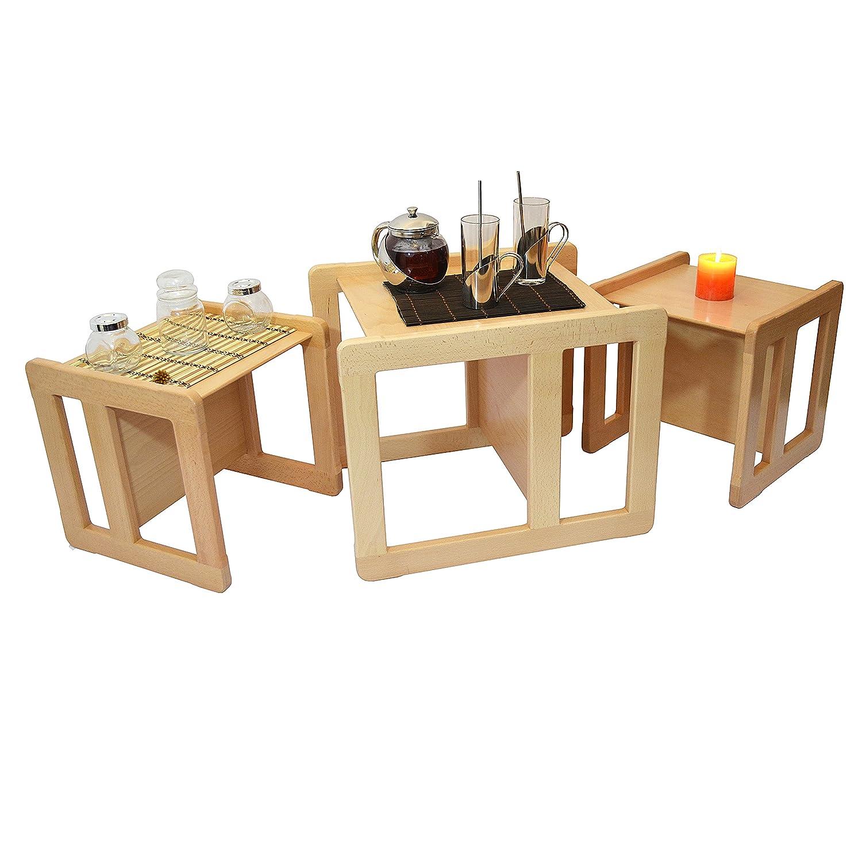 Obique Tris Tavolini Da Caffè Multifunzionali 3 In 1 O Set 3 Mobili Multifunzionali Per Bambini, 2 Sedie O Tavolini Piccoli E 1 Sedia O Tavolino Grande Multifunzionali In Faggio Lacca Chiaro OB_SET_O_00050