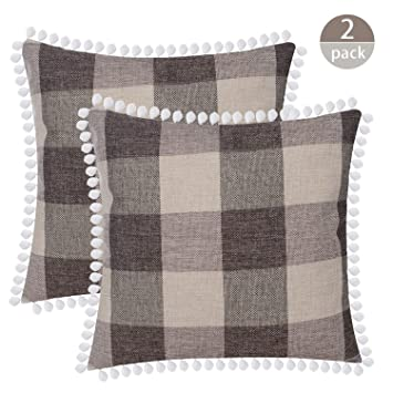 Amazon.com: SEEKSEE - Funda de almohada decorativa de lino y ...
