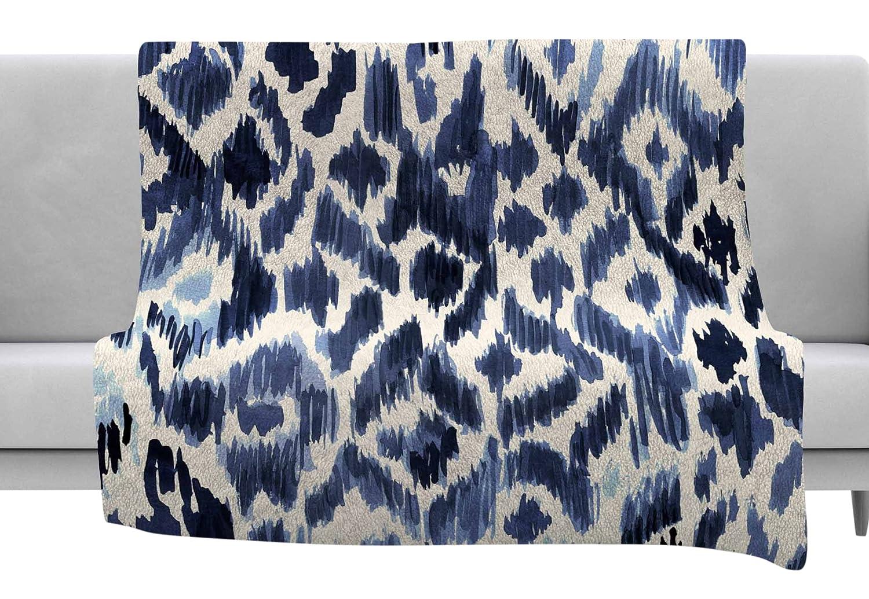 40 x 30 Fleece Blanket Kess InHouse Crystal Walen Leopard Tribal-Indigo Watercolor Throw