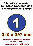 15 ex Etiquette adhésive en polyester transparent brillantes A4 210x297mm pour imprimante laser autocollant pour tout support lisse (plastique, verre, métal) résistante à l'humidité et la chaleur. Idéal pour autocollants, Stickers, vignnattes, et pour l'étiquetage des surfaces et emballages d'aspect mat ou l'étiquette doit rester invisible (flacons, bidons, boites, produits)