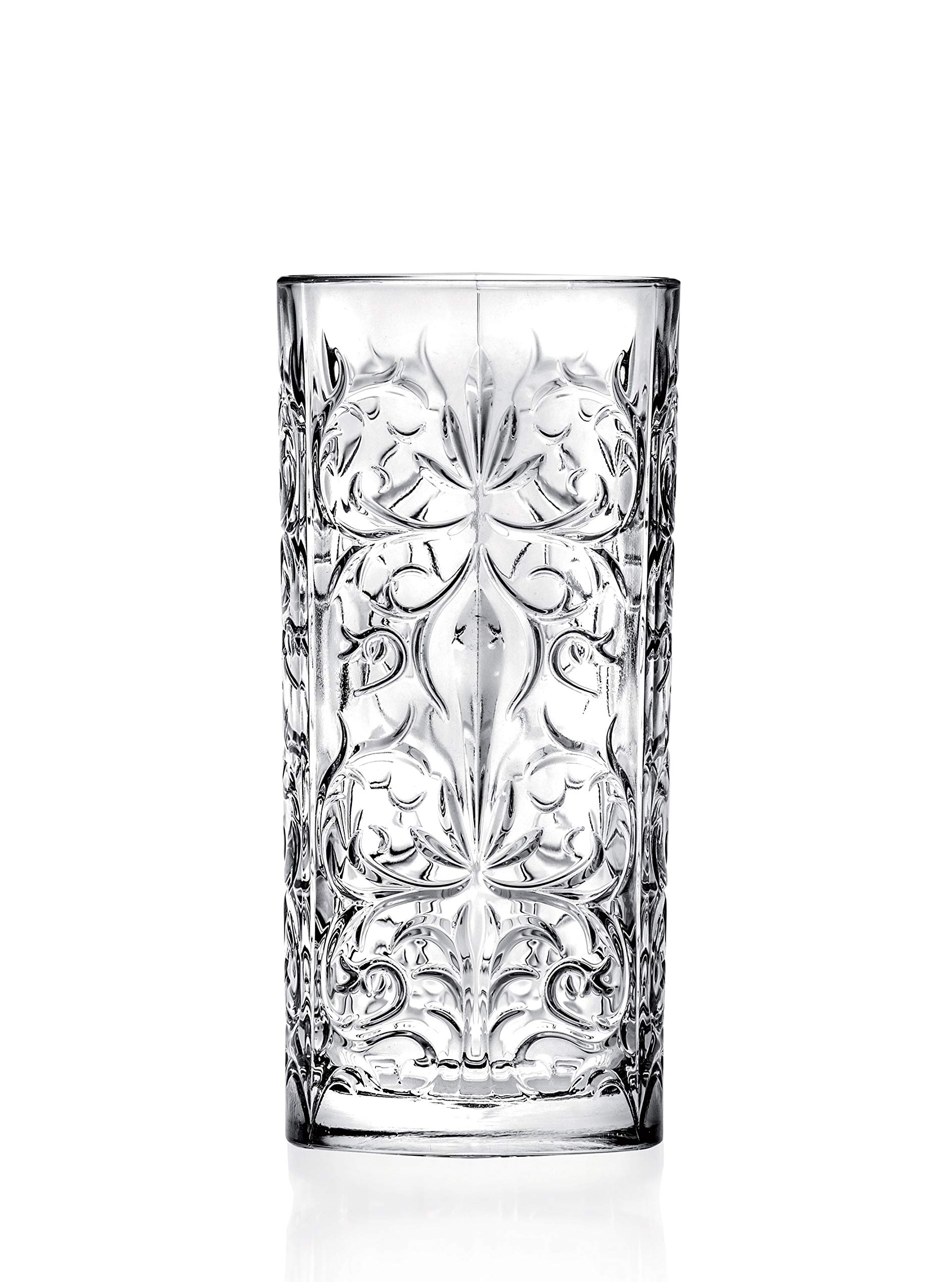 Highball - Glass - Set of 6 - Hiball Glasses - Lead Free Crystal - Beautiful Tattoo Design - Drinking Tumblers - for Water, Juice, Wine, Beer and Cocktails - 13 oz. - by Barski - Made in Europe by Barski