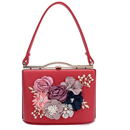 Women s Satin Flower Evening Clutch Bags Pearl Beaded Evening Handbag For  Prom Bride Wedding (Red