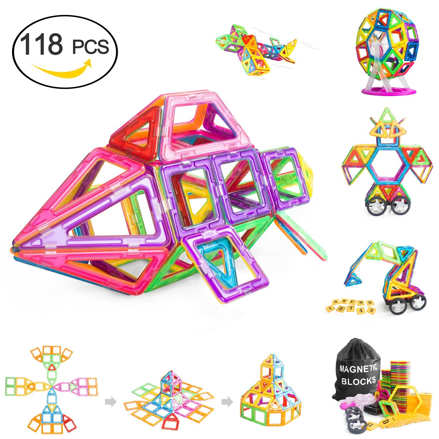 Magnetic Blocks, Magnetic Building Blocks 118 PCS, Magnetic Tiles for Kids, Magnetic Educational STEM Toys for 3, 4, 5+ Year Old Boys and Girls Review