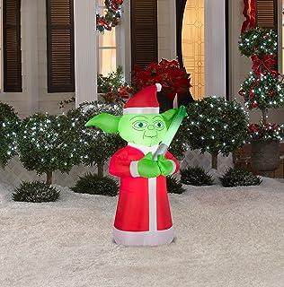gemmy airblown inflatable yoda wearing dressed as santa holiday yard decoration 35 feet tall - Star Wars Christmas Yard Decorations