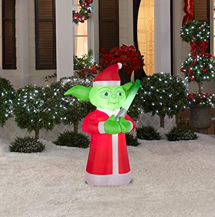 Gemmy Airblown Inflatable Yoda Wearing Dressed As Santa   Holiday Yard  Decoration, 3.5 Feet Tall