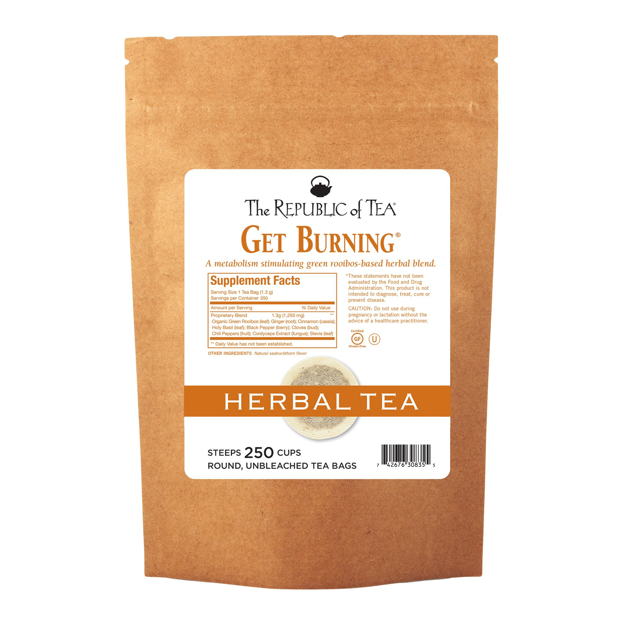 The Republic Of Tea Be Active Green Rooibos Tea Get Burning - Herb Tea For Metabolism, 250 Tea Bags