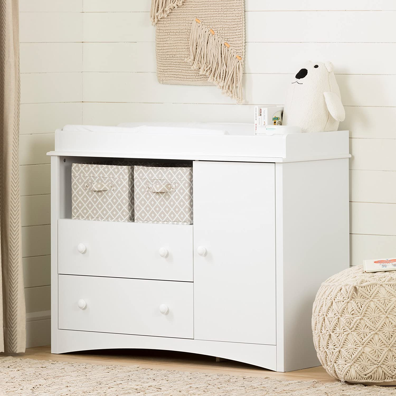 South Shore Peak Changing Table with 2 Drawers and open Storage Space, Drawer Changing Table South Shore Furniture 2280331