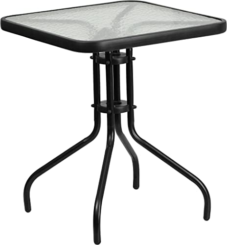 Flash Furniture 23.5 Square Tempered Glass Metal Table,Clear Black,23.5 inches – TLH-073A-1-GG