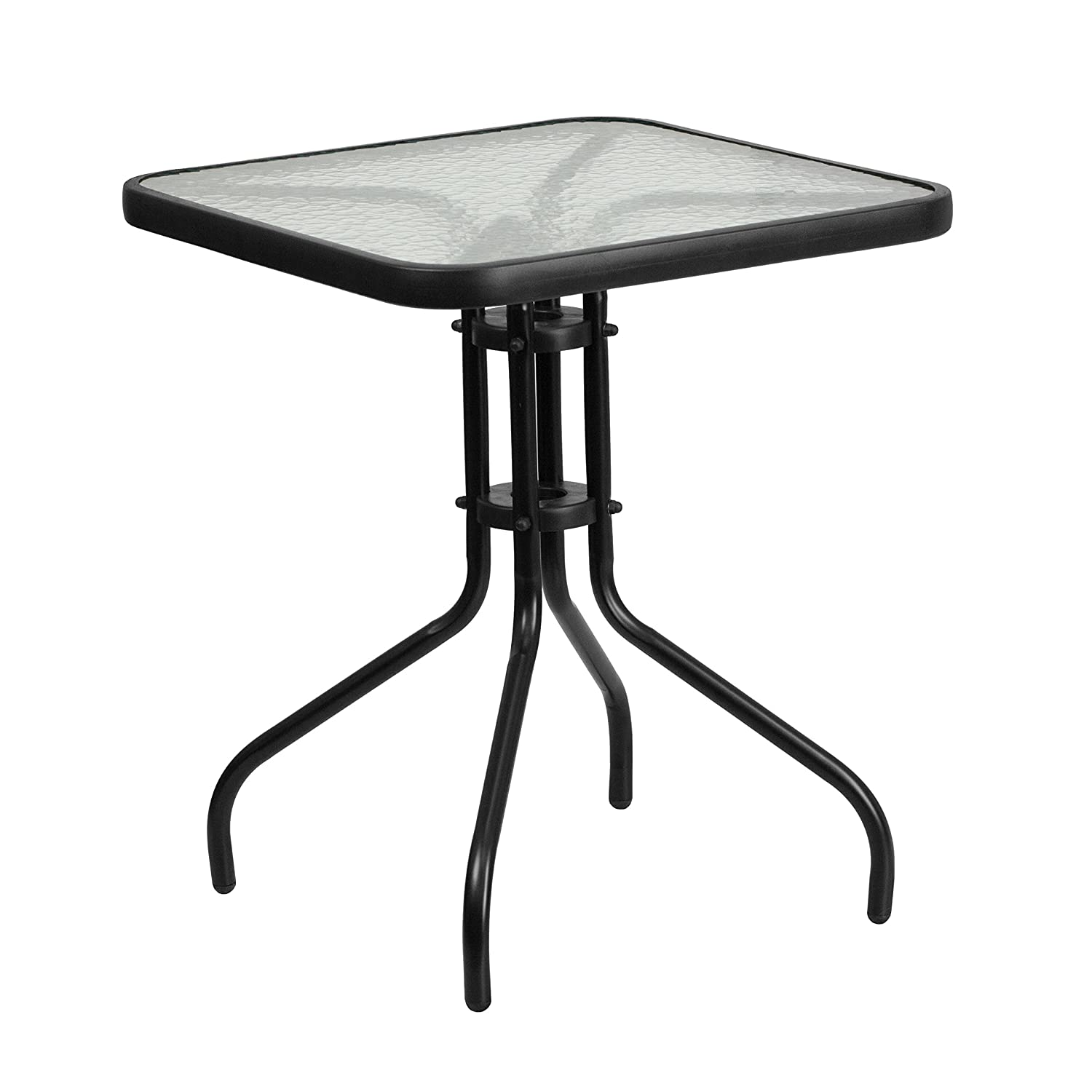 Flash Furniture 23.5'' Square Tempered Glass Metal Table TLH-073A-1-GG