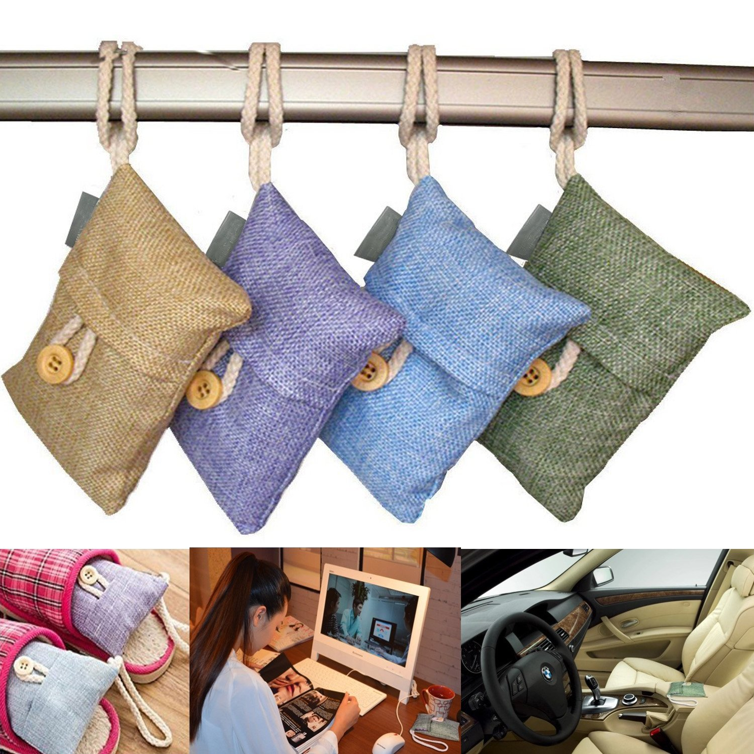 Allucky Air Purifying Bamboo Charcoal Bags Odour Absorber Air Freshener Hanging Pouches for Shoes, Home,Kitchen and Cars Set of 4