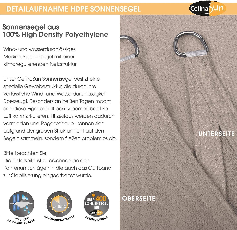 CelinaSun Toldo con protecci/ón Solar para jard/ín y balc/ón HDPE Polietileno Transpirable Tri/ángulo 4 x 4 x 4 m Blanco