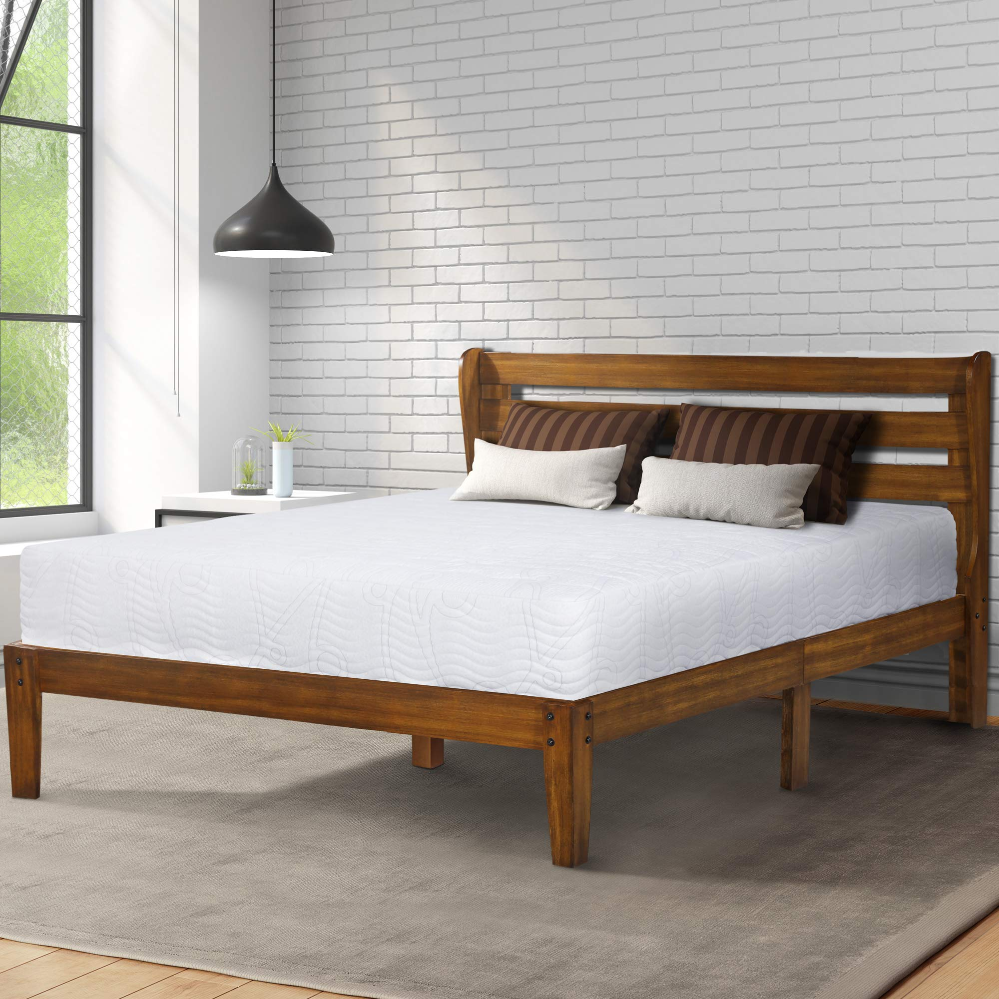 PrimaSleep PR40SF01F-1 Platform Headboard Bed Frame/Wood Support, Full, Brown