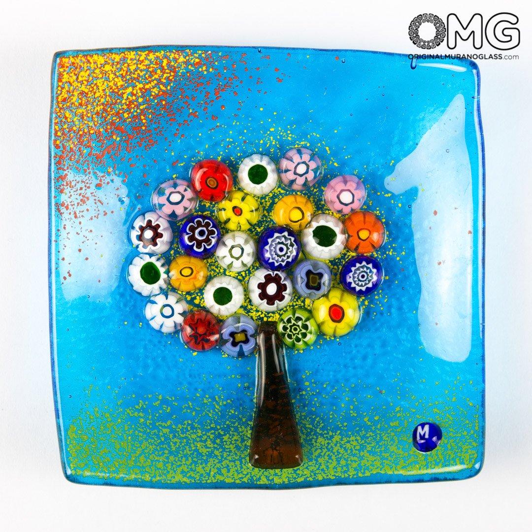 Dekorativer Teller – Baum Baum Baum des Lebens – leer Pocket – Original Murano Glas Millefiori 9 x 9 cm hellblau c44a04