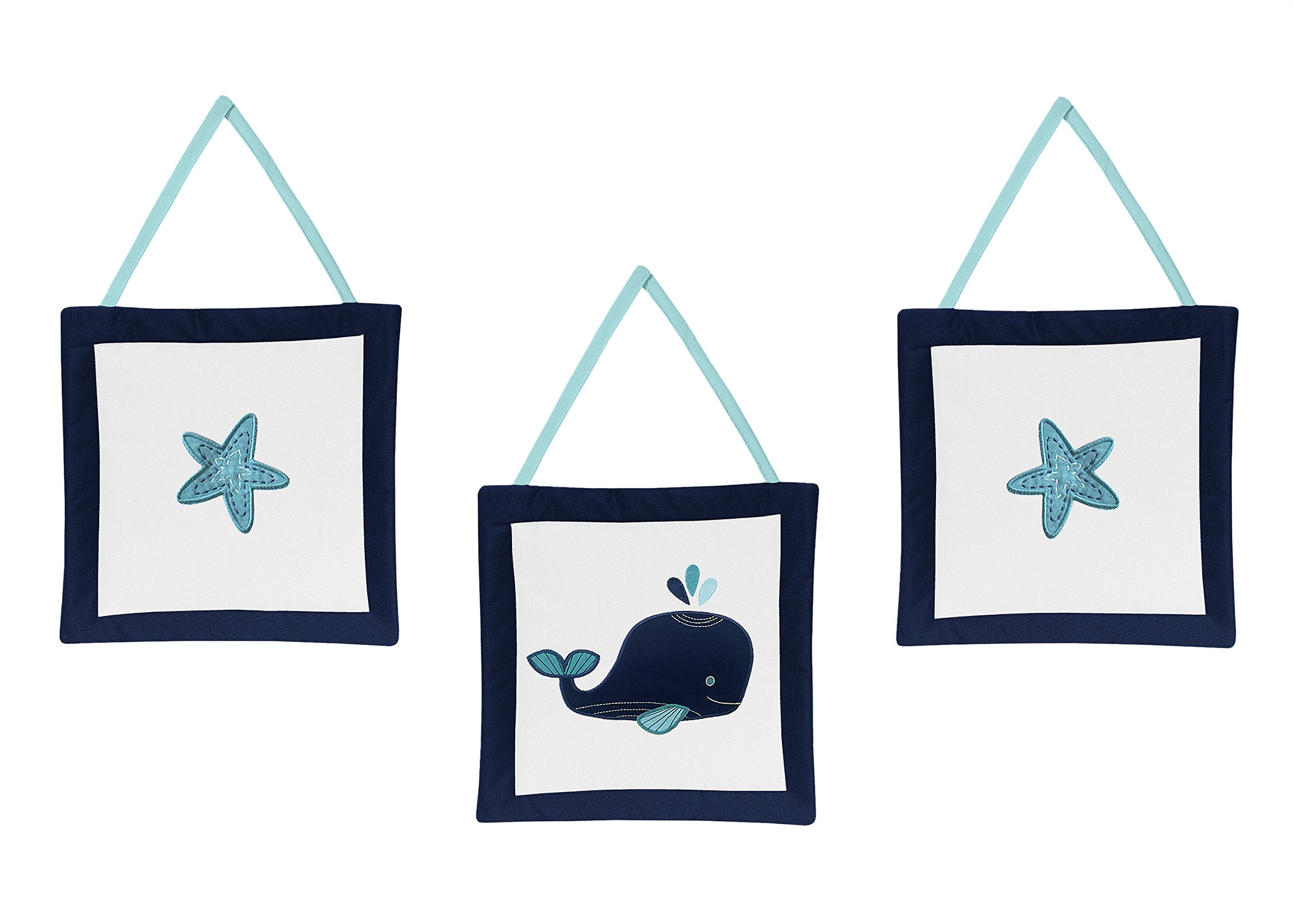 Sweet Jojo Designs Wall Hanging Decor Accessories for Blue Whale Collection