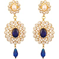 Touchstone gold tone Indian bollywood dazzling bridal jewelry chandelier earrings for women