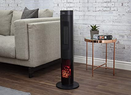 BLACK+DECKER BXSH44003GB Oscillating Ceramic 33 Inch Tower Heater with Remote Control, 2000 W, Black