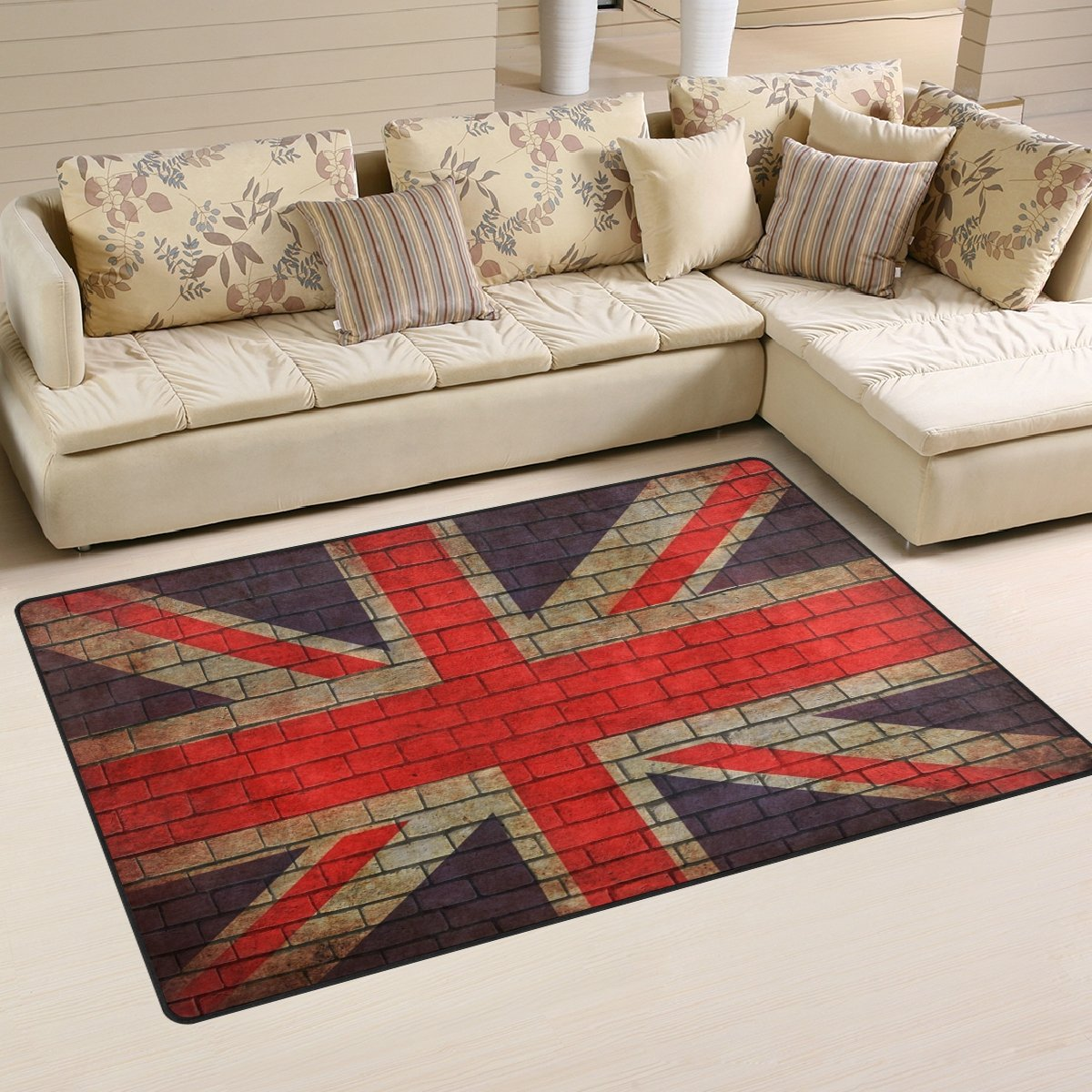 WellLee Area Rug,Great Britain Flag On Brick Wall Floor Rug Non-Slip Doormat for Living Dining Dorm Room Bedroom Decor 31x20 inch