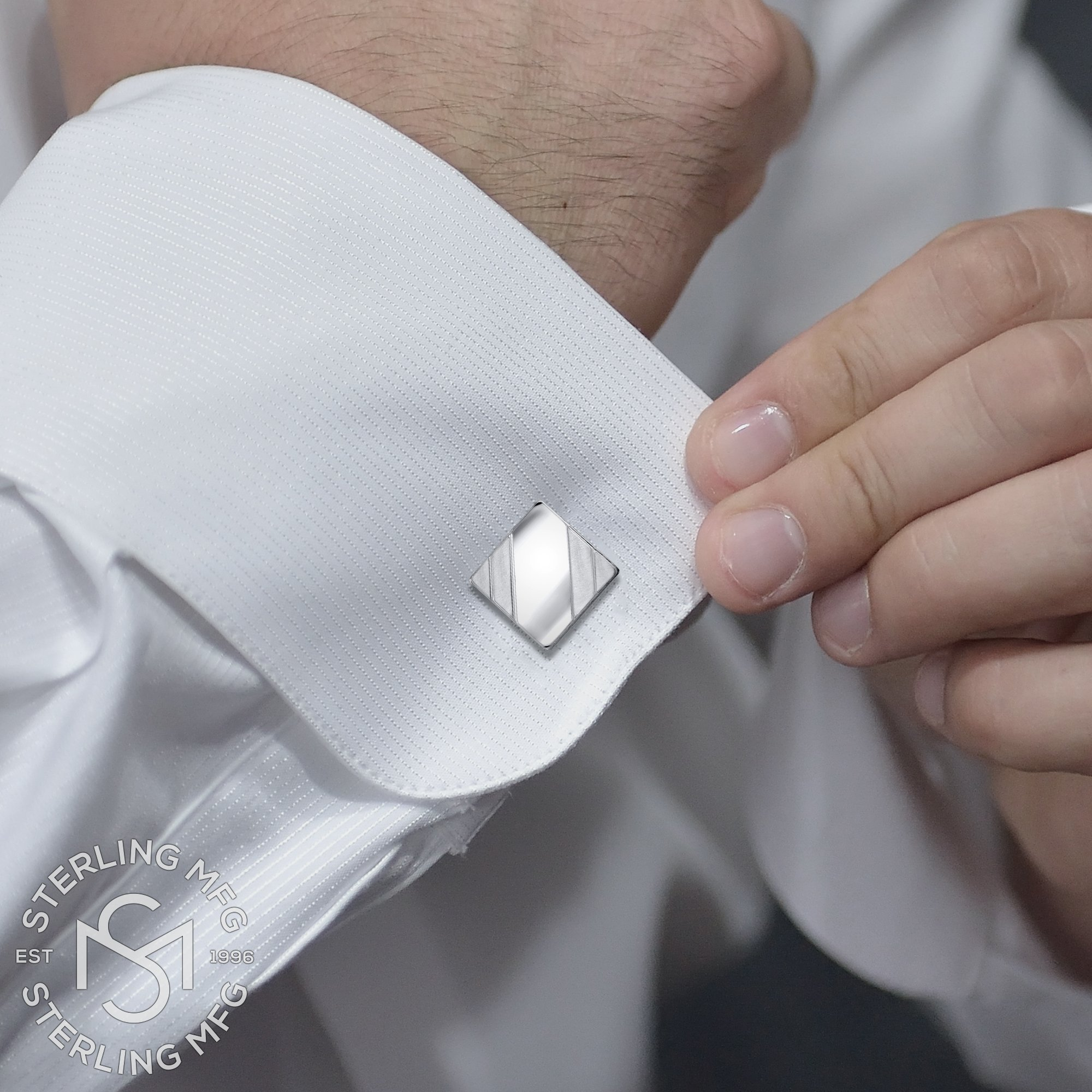 Men's Sterling Silver .925 Square Cufflinks with Satin Finish Accents in Two Corners, Engravable. Made In Italy. 14mm by Sterling Manufacturers (Image #4)