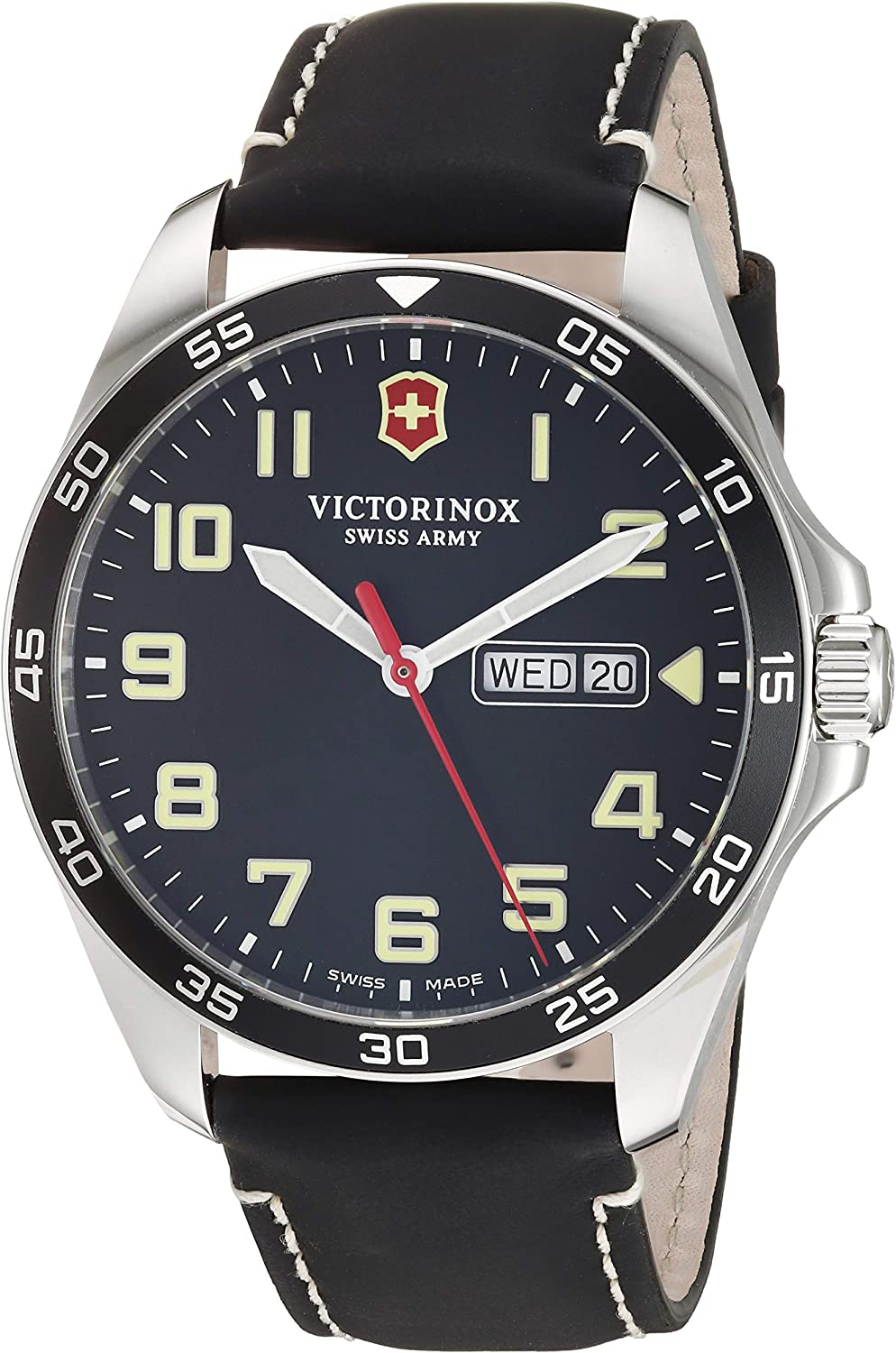 Victorinox Men's Fieldforce Stainless Steel Analog Quartz Watch with Leather Strap, Black, 20 (Model: 241846)