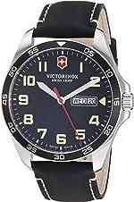 Victorinox Fieldforce Stainless Steel Analog Quartz Watch with Leather Strap, Black,