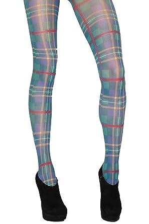 apparence élégante Promotion de ventes pour toute la famille Jonathan Aston tartan Imprimer Collants - One Size - Vert ...