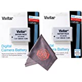 2 Pack of LP-E8 Vivitar Ultra High Capacity Rechargeable 1300mAh Li-ion Batteries + Microfiber Lens Cleaning Cloth LPE8 (Canon LP-E8 Replacement)
