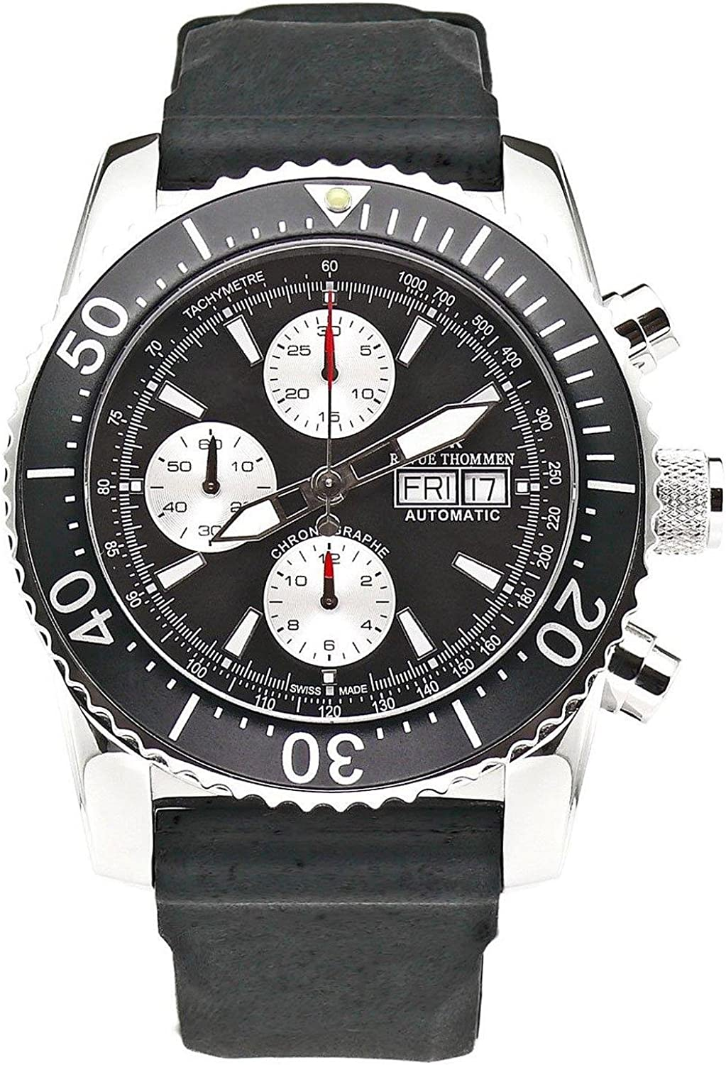 Revue Thommen Automatic Diving Watch Chronograph For Men – Stainless Steel 45mm Analog Black face Sapphire Crystal Day Date Watch – Waterproof Black Rubber Band Swiss Made Mens Diver Watch 17030.6537