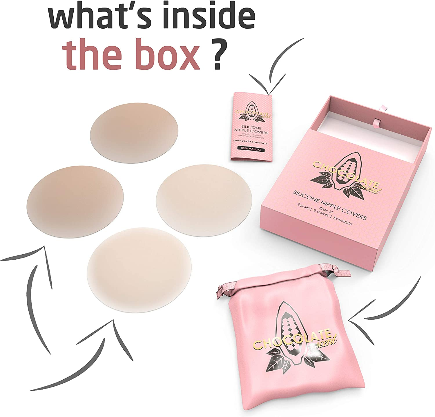   2 pairs Nipple Covers for Women Reusable Adhesive Invisible Silicone Nipple Covers 3 inch Matte Breast Pasties for Women Gift Box