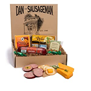 Dan the Sausageman's Yukon Gourmet Gift Basket -Featuring Dan's Original Sausage, 100% Wisconsin Cheese, and Dan's Sweet Hot Mustard