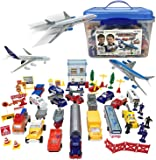 Liberty Imports Deluxe 57-Piece Kids Airport Playset in Storage Bucket with Toy Airplanes, Play Vehicles, Police Figures…