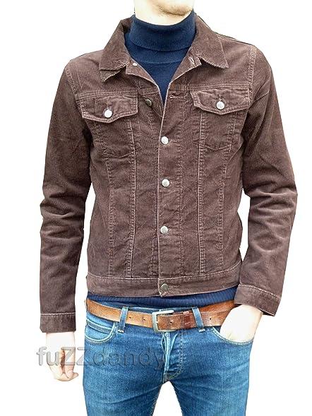 Mens Corduroy Denim Jacket Retro Vintage Brown Cord Coat at Amazon ...