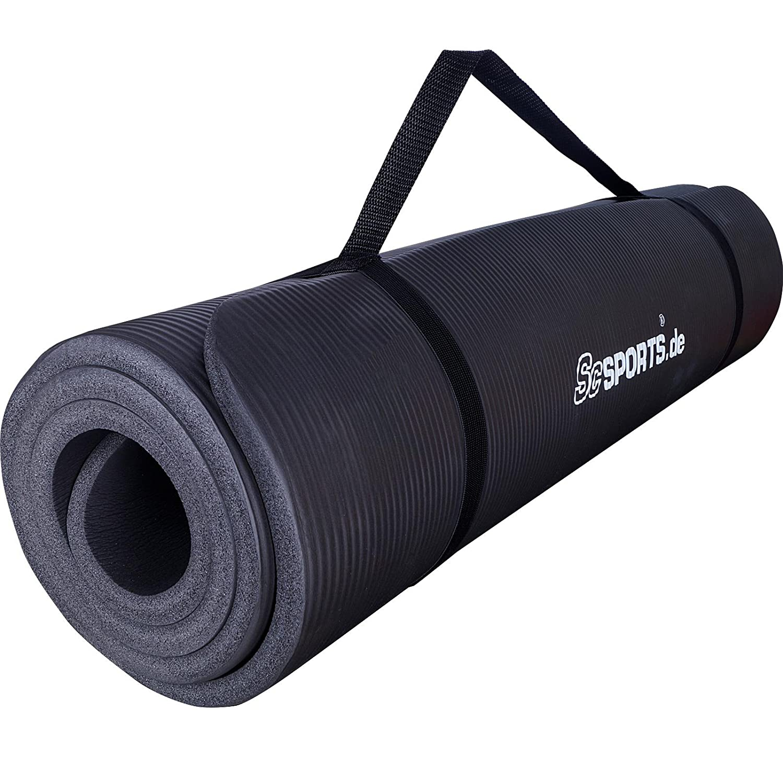 ScSPORTS Gymnastik-// Yoga-Matte Dick und Rutschfest mit Schultergurt 185 cm x 100 cm x 1 cm universeller Einsatz im Fitnessstudio oder zu Hause