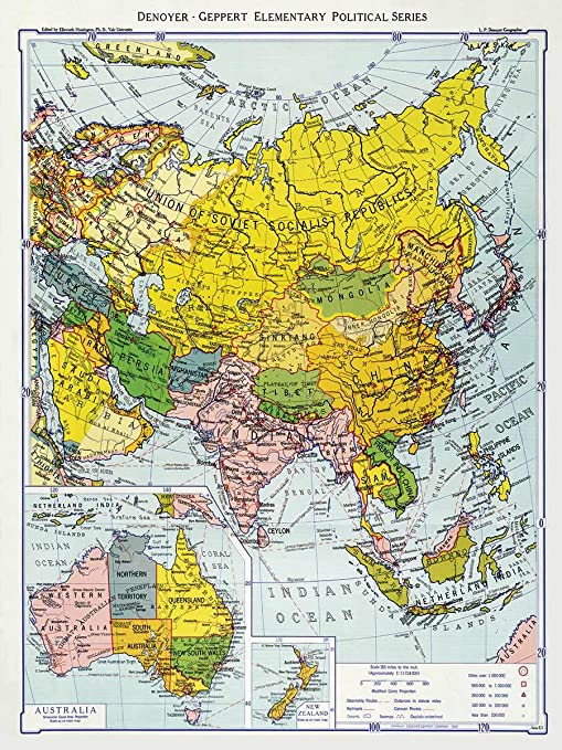 Political Map Of New Zealand.Denoyer Geppert Company Political Map Of Asia Including Australia