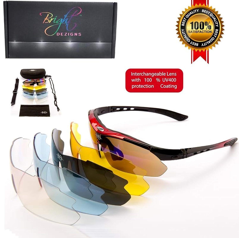 Unisex polarizadas Deportes Gafas de sol. 5 lentes intercambiables para ciclismo golf pesca todas las actividades al aire libre. Irrompible marco suave goma ...