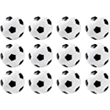 Foosball Balls Bulk - 12 Pack Mini Soccer Table Replacements, Black and White, 36mm