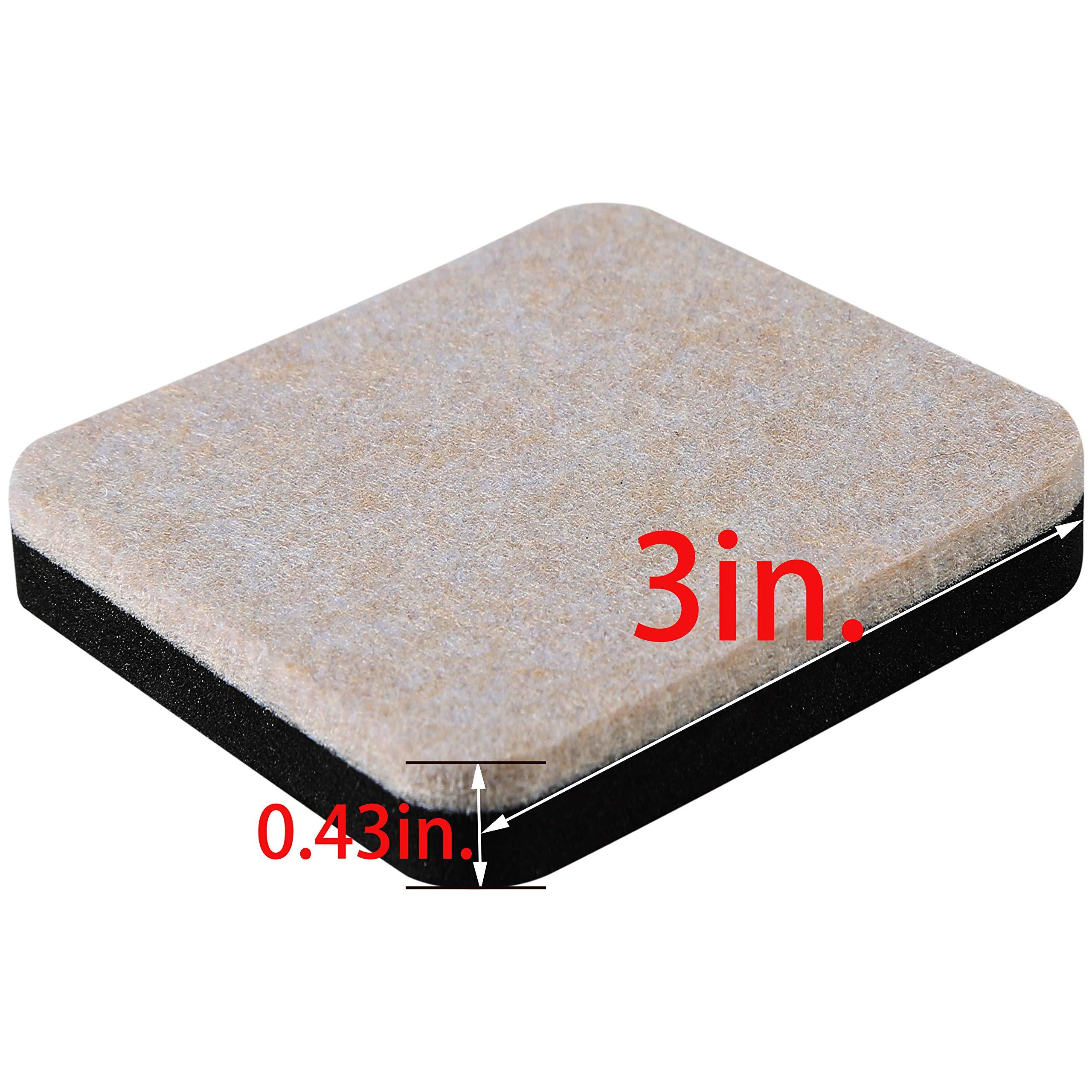 Liyic 20 Pack 3in.Square Felt Sliders for Hard Surfaces-Felt Furniture Sliders - Heavy Duty Sliders – Reusable Hardwood Floor Sliders -Furniture Moving Sliders-Sofa Sliders Gliders Glides Movers by Liyic (Image #2)