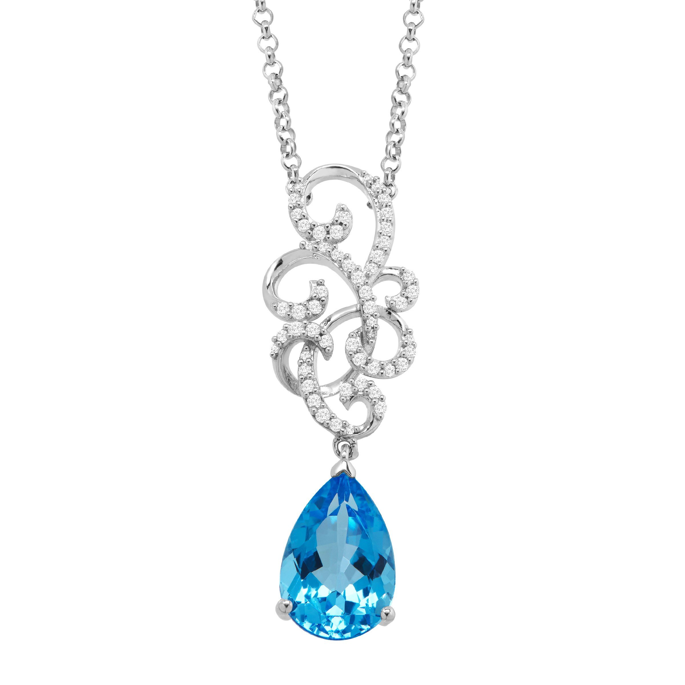3 1/2 ct Natural Swiss Blue Topaz & 1/5 ct Diamond Swirl Necklace in Sterling Silver