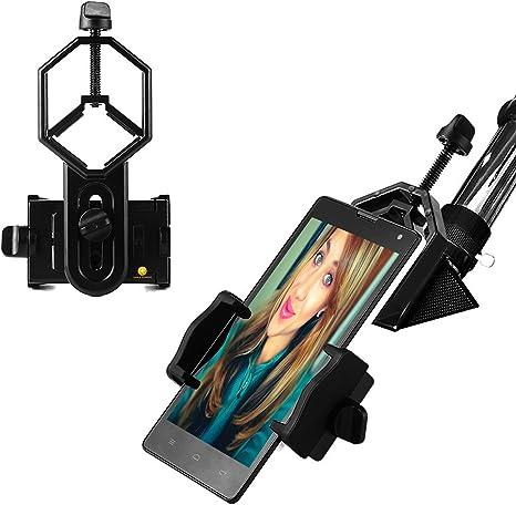 Soporte de teléfono móvil telescopio terrestre Adaptador Universal, Smartphone Telescopio Adaptador compatible con prismáticos Monocular,, telescopio, telescopio y microscopio para iPhone y teléfonos Android: Amazon.es: Electrónica