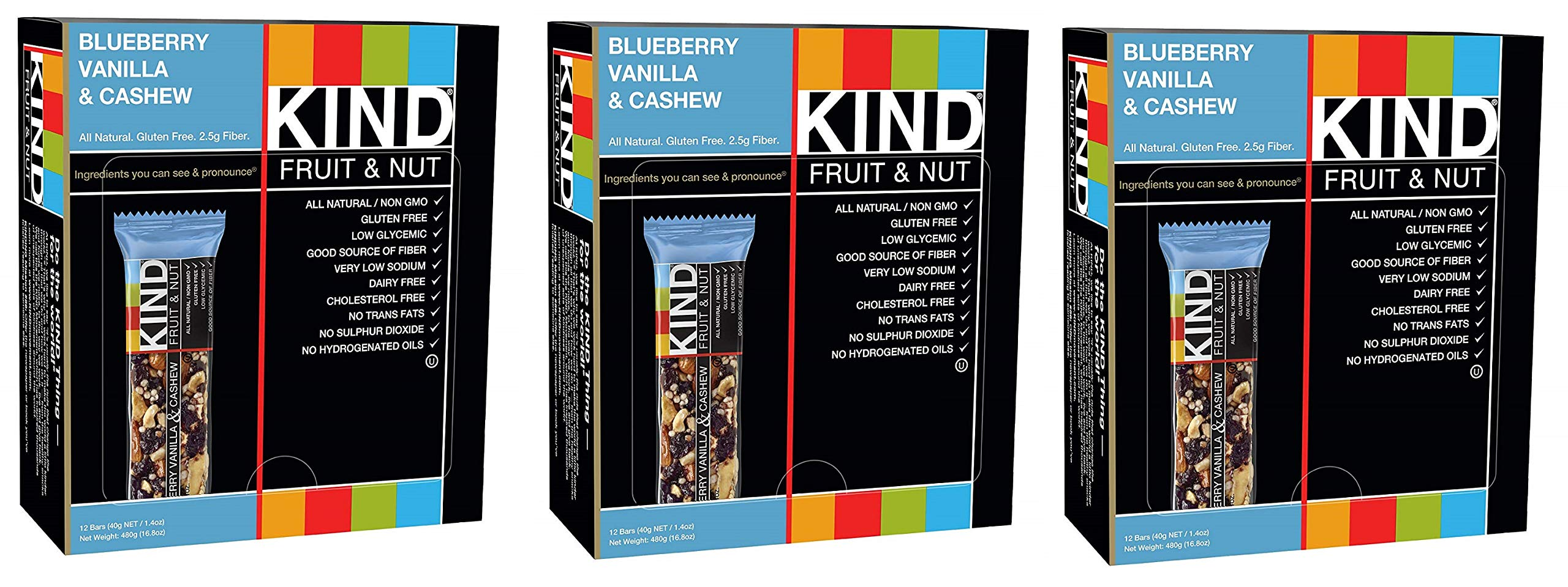 KIND Bars, Blueberry Vanilla and Cashew, Gluten Free, Low Sugar, 1.4oz, 36 Bars