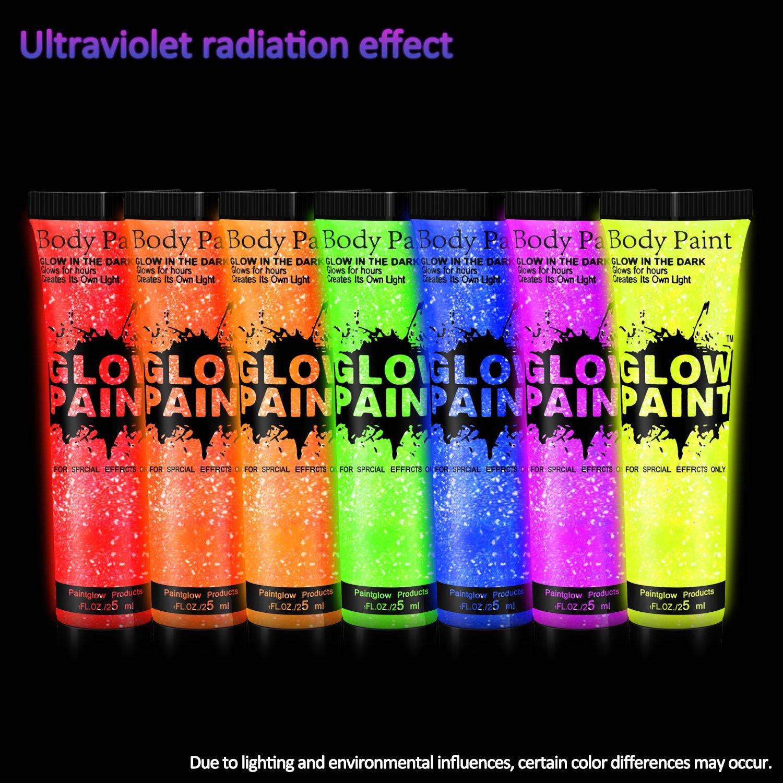 TENVA UV-Licht Bodypainting Schminke, Schwarzlicht-Körperfarbe für Body und Facepainting Fluoreszierende Farben Schminkset für knalligen Glow-Effekt