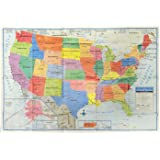 Amazoncom North America Laminated Gloss Full Color Time Zone - Color coded map of us