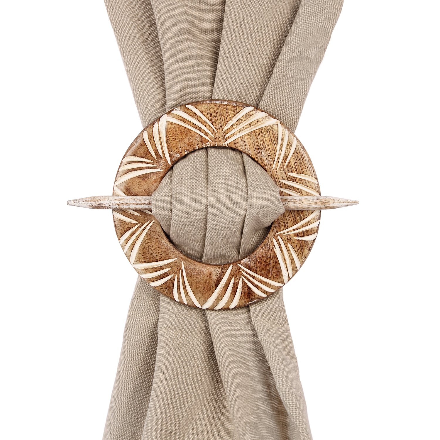Aheli Decorative Wooden Curtain Tiebacks Set of 2 Window Treatment Holdbacks Drape Binds Hand Carved with White Distressed Finish by Aheli (Image #1)