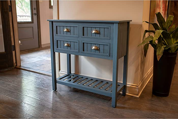 Decor Therapy FR8683 Bailey Bead Board 4-Drawer Console Table, 14x32x32, Antique Navy