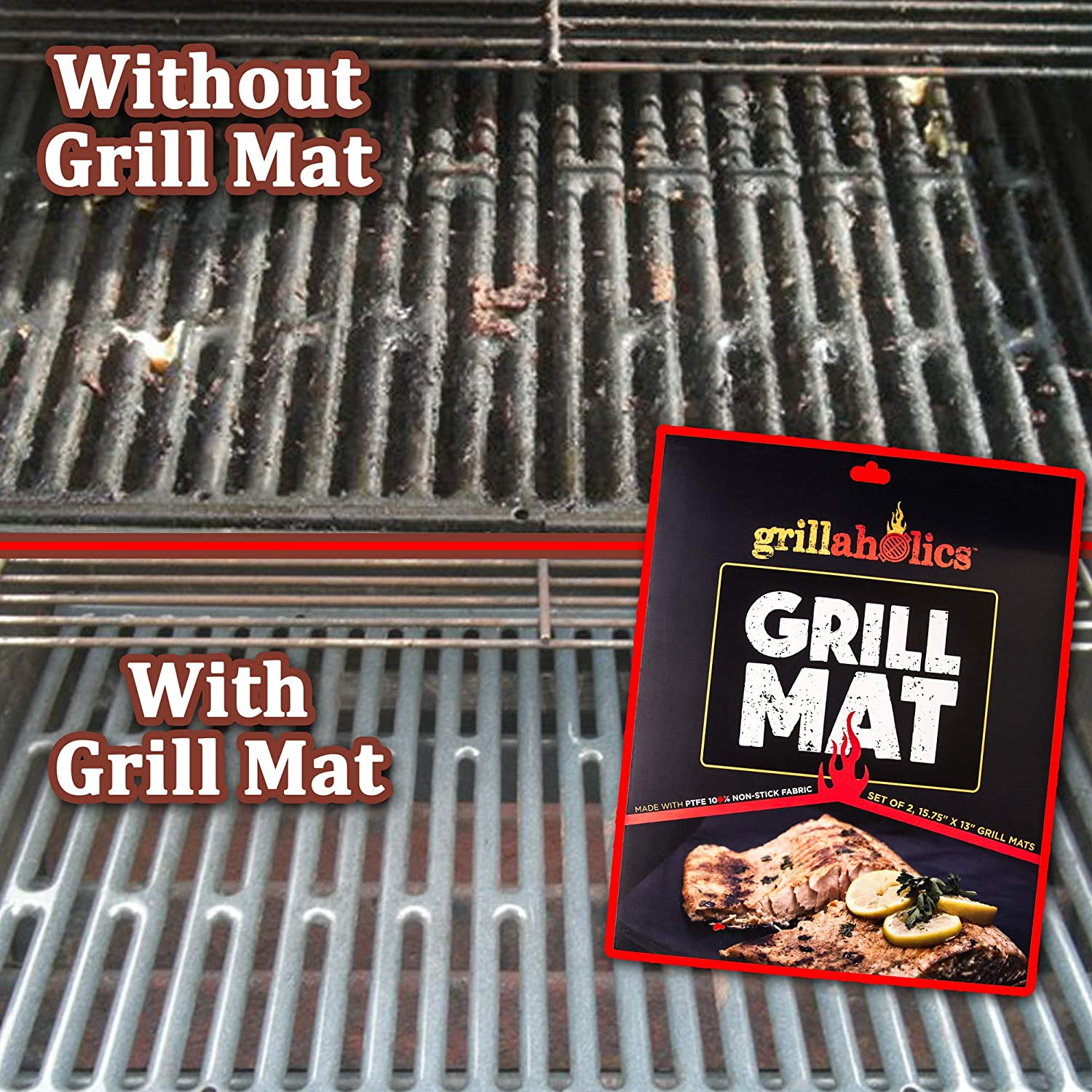 Grillaholics Grill Mat - Set of 3 - Nonstick BBQ Grilling Accessories - 15.75 x 13 Inch : Garden & Outdoor