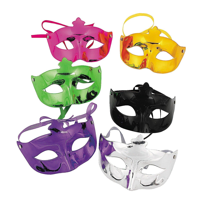 amazon com fun express 6 pack mardi gras masks masquerade face